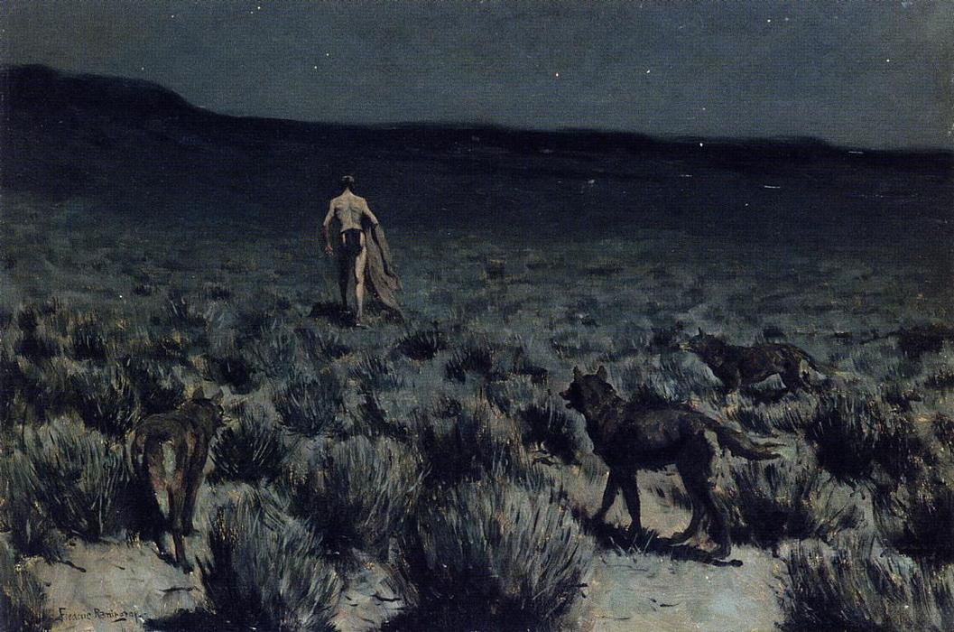 The Wolves Sniffed Along on the Trail, but Came No Closer, Oil On Panel by Frederic Remington (1861-1909, United States)