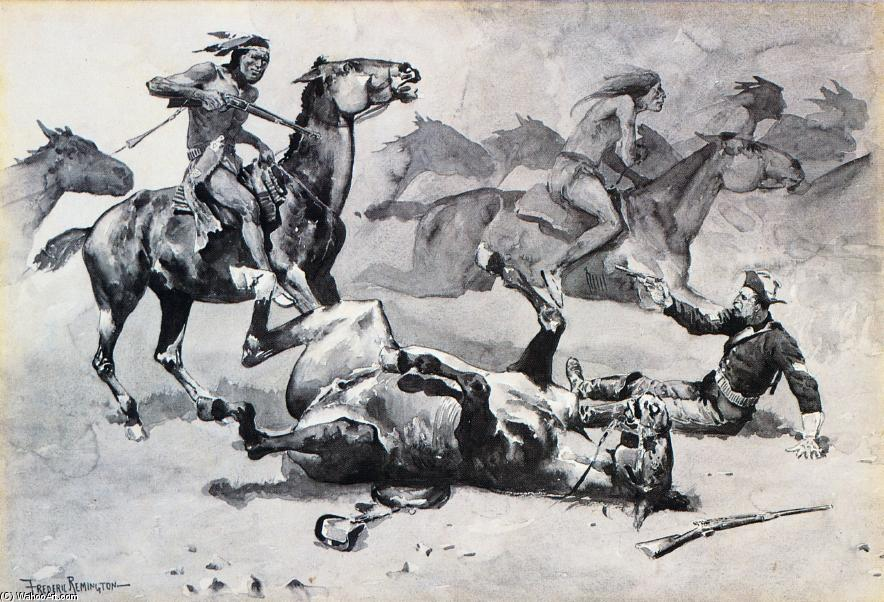 Unhorsed, Watercolour by Frederic Remington (1861-1909, United States)