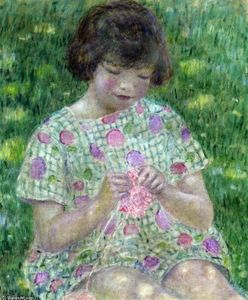 Frederick Carl Frieseke - Child Knitting