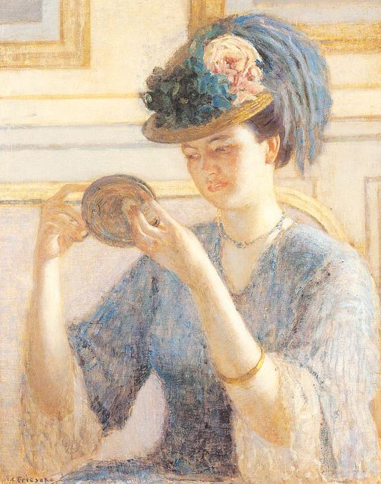 Order Art Reproductions | Reflections by Frederick Carl Frieseke (1874-1939, United States) | WahooArt.com