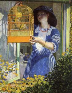 Frederick Carl Frieseke - The Open Window (Aka The Bird Cage)