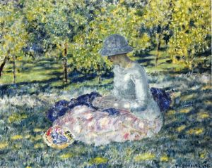 Frederick Carl Frieseke - Woman Seated In A Park With Basket