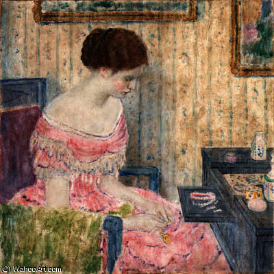Woman with Jewels by Frederick Carl Frieseke (1874-1939, United States) | Famous Paintings Reproductions | WahooArt.com
