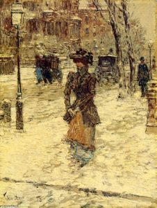 Frederick Childe Hassam - Lady Walking down Fifth Avenue