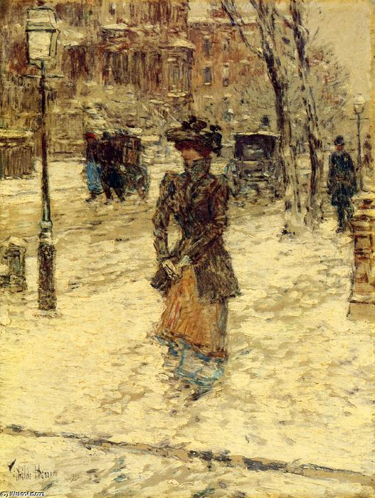 Lady Walking down Fifth Avenue, 1902 by Frederick Childe Hassam (1859-1935, United States) | Art Reproduction | WahooArt.com