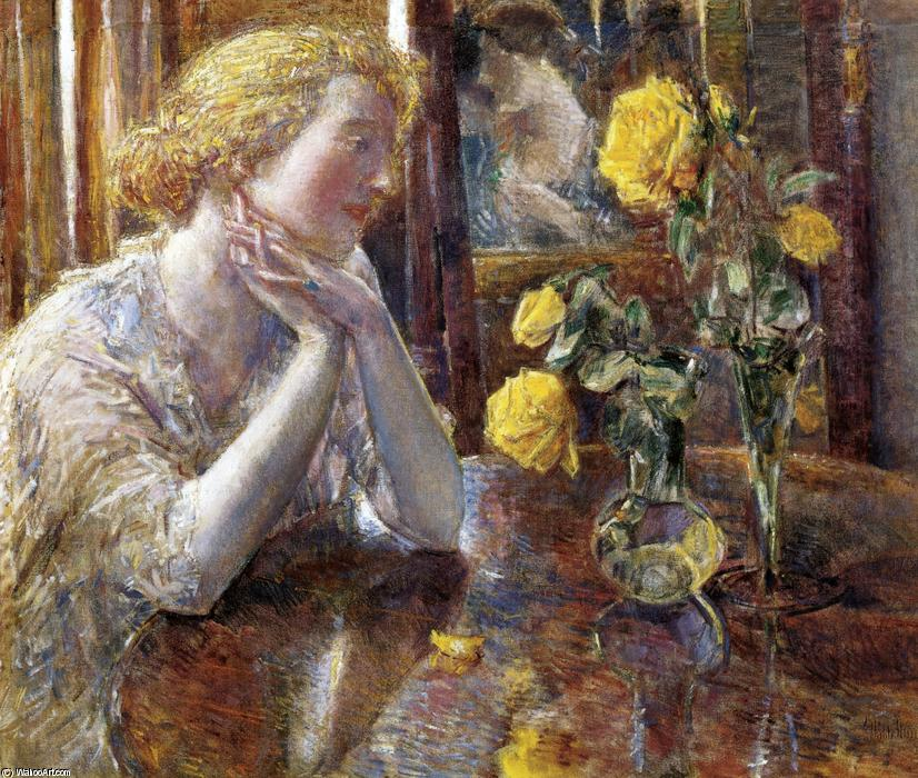 Maréchal Niel Roses, 1919 by Frederick Childe Hassam (1859-1935, United States) | Painting Copy | WahooArt.com