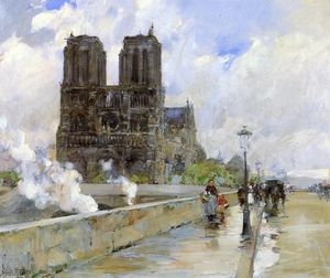 Frederick Childe Hassam - Notre Dame Cathedral, Paris, 1888