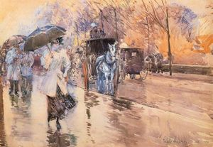 Frederick Childe Hassam - Rainy Day on Fifth Avenue