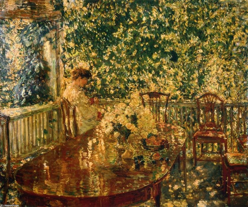 Summer Porch at Mr. and Mrs. C.E.S. Wood`s, 1904 by Frederick Childe Hassam (1859-1935, United States) | Oil Painting | WahooArt.com