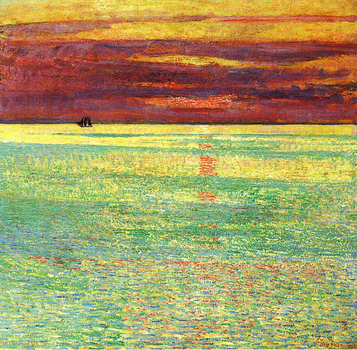 Order Reproductions | Sunset at Sea, 1911 by Frederick Childe Hassam (1859-1935, United States) | WahooArt.com