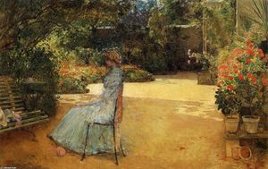 Frederick Childe Hassam - The Artist-s Wife in a Garden, Villiers-le-Bel
