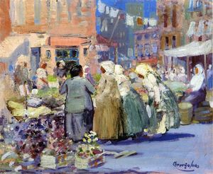 George Benjamin Luks - Spring Morning, Houston and Division Streets, New York