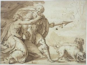 Hans Von Aachen - Adonis held back by Venus while going hunting