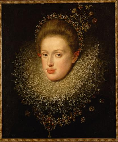 Portrait of Anna of Austria by Hans Von Aachen (1552-1615, Germany) | Paintings Reproductions Hans Von Aachen | WahooArt.com