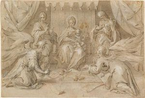 Hans Von Aachen - The Madonna Enthroned with Saint John the Baptist and Saint John the Evangelist