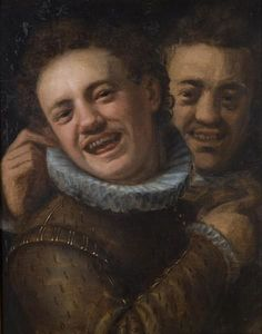 Hans Von Aachen - Two loughing men-double self-portrait