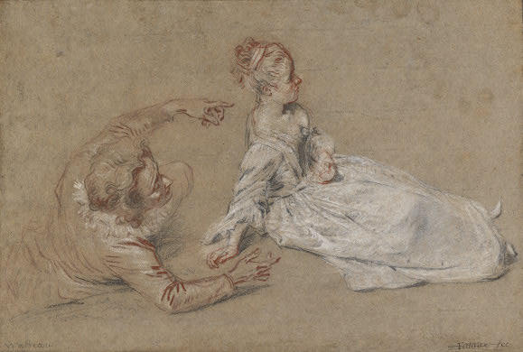 A Man Reclining and a Woman Seated on the Ground by Jean Antoine Watteau (1684-1721, France) | Museum Quality Reproductions | WahooArt.com