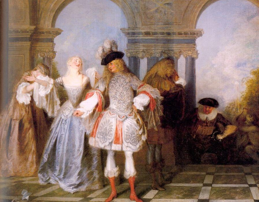 Order Famous Paintings Reproductions : French Players, 1720 by Jean Antoine Watteau (1684-1721, France) | WahooArt.com