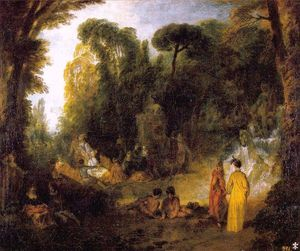 Jean Antoine Watteau - Gathering by the Fountain of Neptune