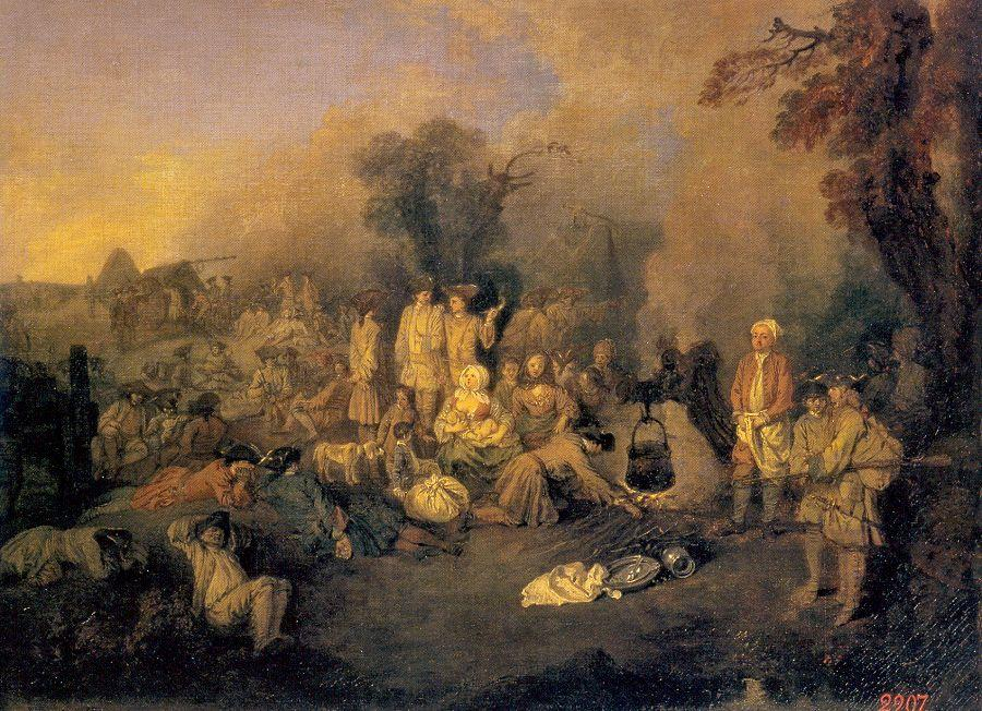 The Bivouac, Oil by Jean Antoine Watteau (1684-1721, France)