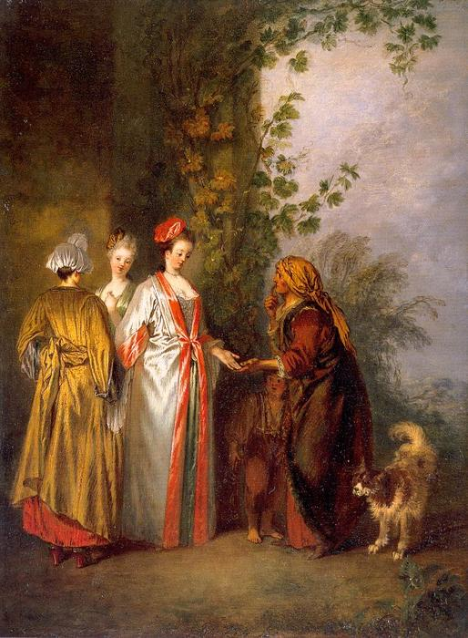 The Fortune Tellers, Oil by Jean Antoine Watteau (1684-1721, France)