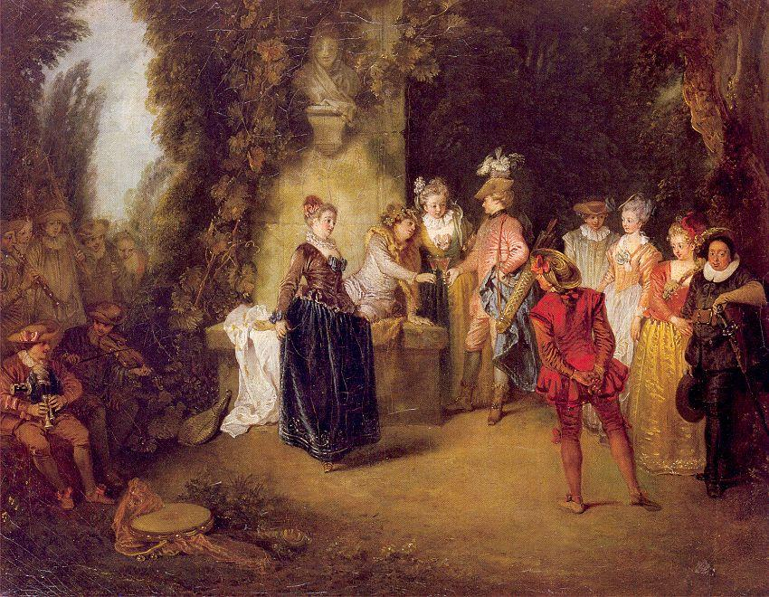 The French Theater, 1714 by Jean Antoine Watteau (1684-1721, France) | WahooArt.com