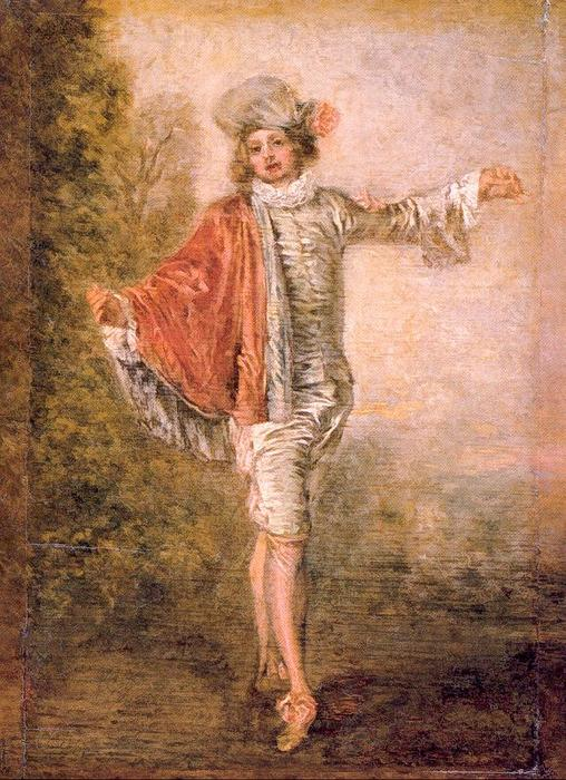 The Indifferent Man, Oil by Jean Antoine Watteau (1684-1721, France)