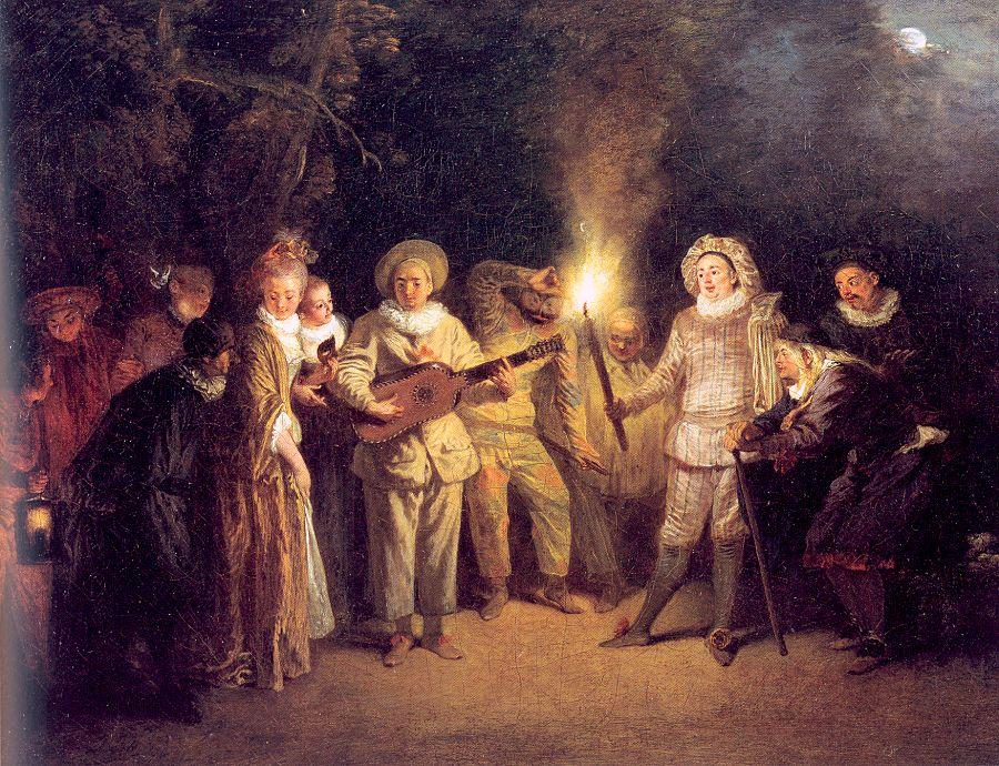 The Italian Theater, 1717 by Jean Antoine Watteau (1684-1721, France) | Art Reproduction | WahooArt.com