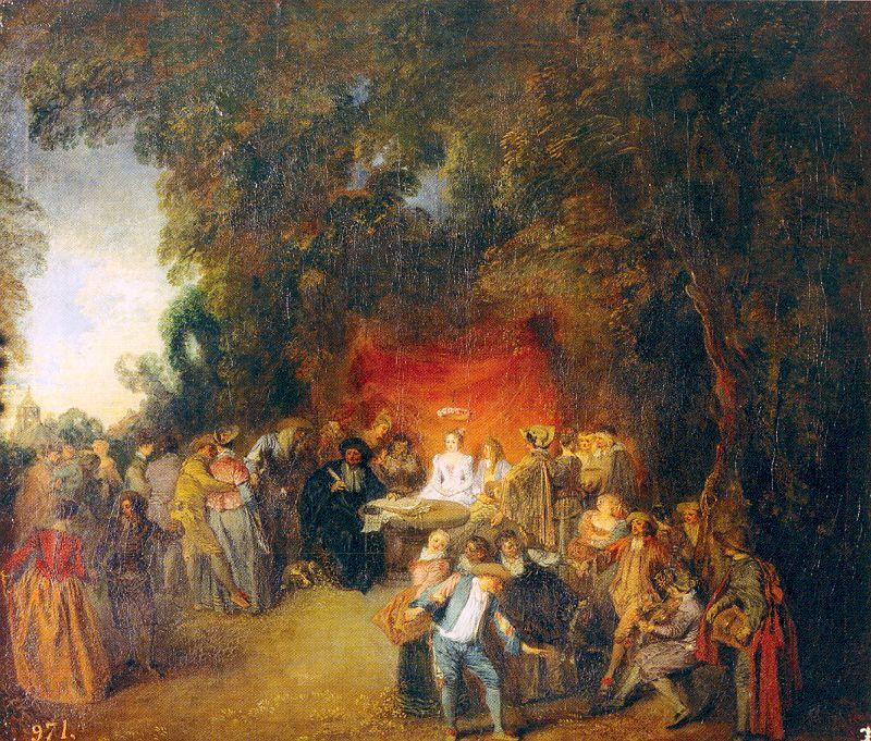 The Marriage Contract, 1713 by Jean Antoine Watteau (1684-1721, France) | Famous Paintings Reproductions | WahooArt.com