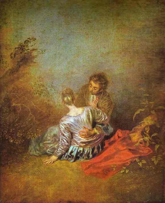 The Mistaken Advance, Oil by Jean Antoine Watteau (1684-1721, France)
