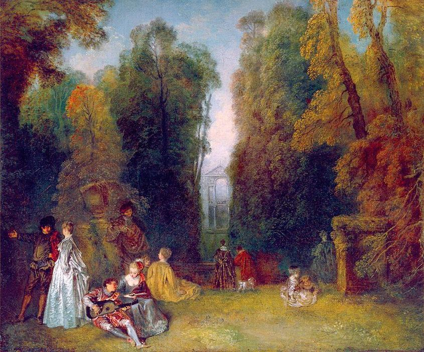 The Perspective, Oil On Canvas by Jean Antoine Watteau (1684-1721, France)