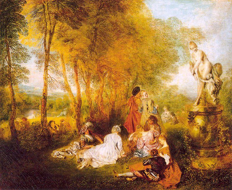 The Pleasures of Love, Oil On Canvas by Jean Antoine Watteau (1684-1721, France)