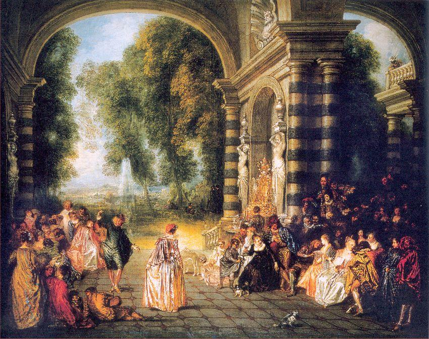 The Pleasures of the Ball, 1717 by Jean Antoine Watteau (1684-1721, France) | Oil Painting | WahooArt.com