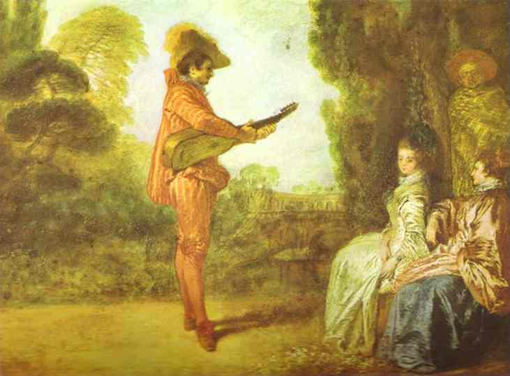 Buy Museum Art Reproductions | The Seducer by Jean Antoine Watteau (1684-1721, France) | WahooArt.com