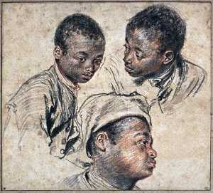 Jean Antoine Watteau - Three studies of a boy