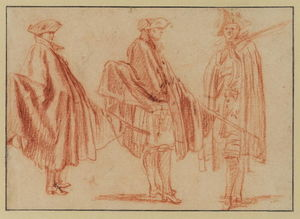 Jean Antoine Watteau - Three studies of a soldier