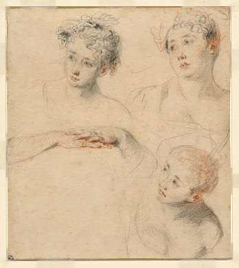 Three Studies of a Woman`s Head and a Study of Hands [recto], by Jean Antoine Watteau (1684-1721, France) | Museum Quality Reproductions | WahooArt.com