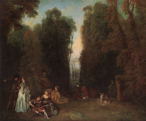 Jean Antoine Watteau - View Through the Trees in the Park of Pierre Crozat