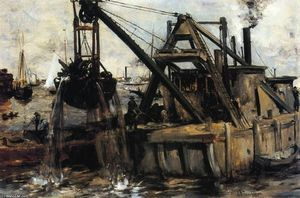 John Henry Twachtman - Dredging in the East River