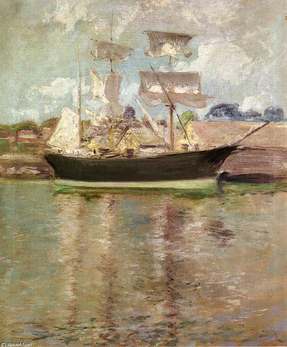 Gloucester Schooner, 1900 by John Henry Twachtman (1853-1902, United States) | Famous Paintings Reproductions | WahooArt.com
