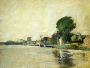 John Henry Twachtman - View along a River
