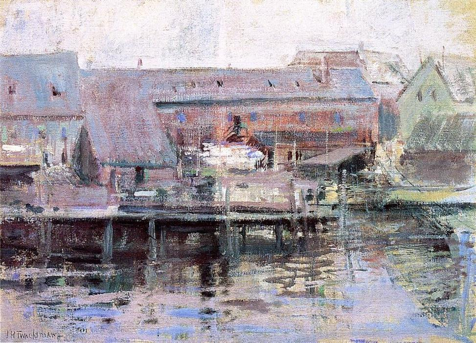 Waterfront Scene Gloucester, Oil On Canvas by John Henry Twachtman (1853-1902, United States)