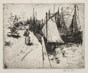 John Henry Twachtman - Woman On Quay, Honfleur