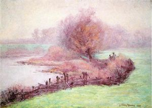 John Ottis Adams - A Misty Morning on the Mississinewa