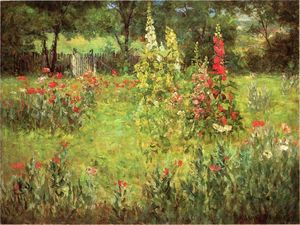 John Ottis Adams - Hollyhocks and Poppies - The Hermitage