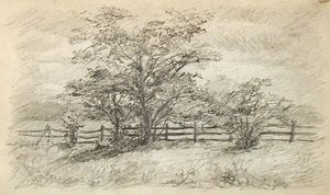 John Ottis Adams - Tree and Fence