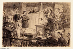 John Sloan - Before Her Makers and Her Judge, Illustration for ''The Masses'', August 1913