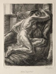 John Sloan - Nude on Draped Couch