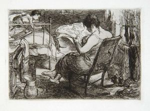 John Sloan - The Women's Page, from the series New York City Life