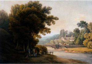 Order Reproductions | DUNSFORD BRIDGE, EAST DEVON by John White Abbott (1763-1851, United Kingdom) | WahooArt.com